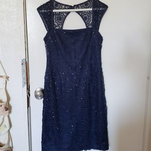 Adrianna Papell blue sequined formal dress